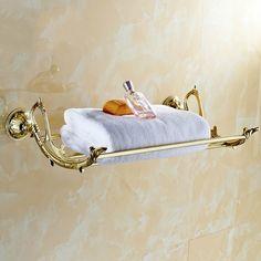 Auswind antique gold leaf towel rack art design for europe bathroom decoration gold solid brass luxury Towel Shelf, Towel Racks, Brass Bathroom, Gold Leaf, Antique Gold, Solid Brass, Carving, Luxury, Antiques