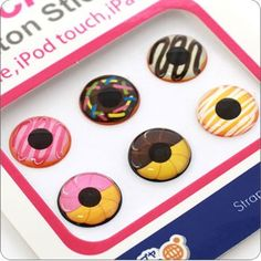 Touch Me! Button Stickers for iPhone, iPod and iPad (Donut) but there are different ones super cute!