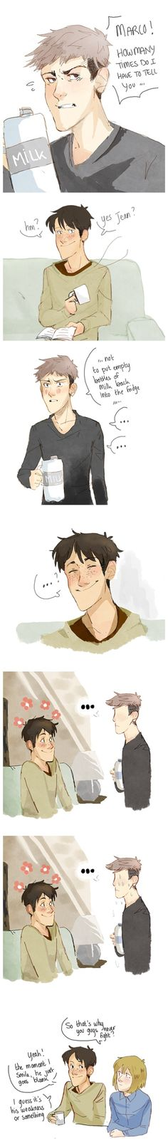 Attack on Titan ~~ Jean has a thing for Marco's smile. I can't say that I don't, too.