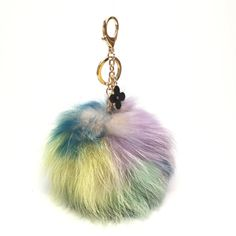 NEW Collection Dimensional Swirl Multi Color Raccoon Fur Pom Pom bag charm clover flower charm keychain piece no.311