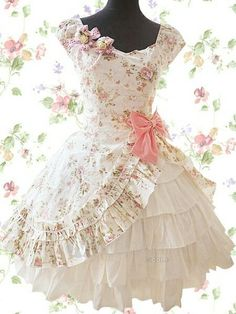 Sweet Lolita dress - so princess-y! Frilly Dresses, Pretty Dresses, Beautiful Dresses, Girls Dresses, Floral Dresses, Paper Dresses, Gorgeous Dress, Kawaii Fashion, Lolita Fashion