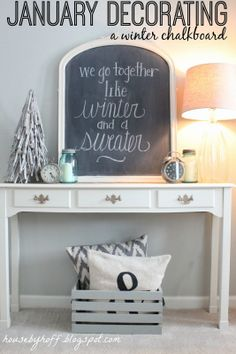 House by Hoff: January Decorating: A Winter Chalkboard + Showcasing Your Collections! - Diy for Home Decor Seasonal Decor, Holiday Decor, Winter Home Decor, Winter Decorations, Shabby, After Christmas, Xmas, Christmas Tree, Winter Time