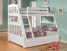 Found it at Wayfair - Chelsea Home Twin over Full Standard Bunk Bed with Underbed Storage Twin Full Bunk Bed, Girls Twin Bed, Bunk Beds For Girls Room, Adult Bunk Beds, Kids Bunk Beds, Kids Bedroom, Bedroom Ideas, Childrens Bedroom, Full Bed