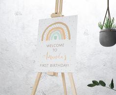 Rainbow First Birthday, First Birthday Themes, Baby Girl 1st Birthday, First Birthdays, Birthday Banners, Birthday Invitations, Birthday Ideas, Baby Shower Welcome Sign, Yard Party
