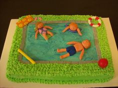 Pool party birthday cake.