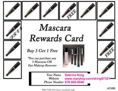 Mascara Rewards Card! Mary Kay Cosmetics www.marykay.com/sking87321