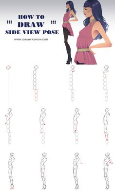 Check out this fashion figure tutorial here: http://www.idrawfashion.com/body/figure/31-side-view/how-to-draw-side-view-pose/::: HOW TO DRAW SIDE VIEW POSE :::