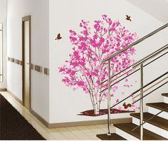 grand arbre romantique rose stickers sticker mural filles fleur d'érable adhésifs papier peint murales femmes décoration maison living chambre