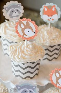 Woodland Friends First Birthday Party Cupcake Toppers https://fantabulosity.com
