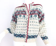Sz M 1980s Wool Nordic Cardigan Sweater  by SadieBessVintage