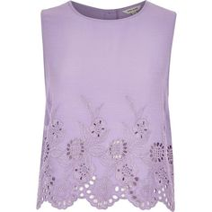 River Island Purple crepe embroidered hem tank top ($20) ❤ liked on Polyvore featuring tops, shirts, tank tops, blouses, tanks, purple, sale, women, tall shirts and embroidered shirts