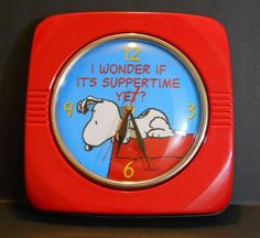 Schulz Peanuts Snoopy Wall Clock Red Metal Square w/ glass RETRO  100% tested #snoopy #clock #peanuts
