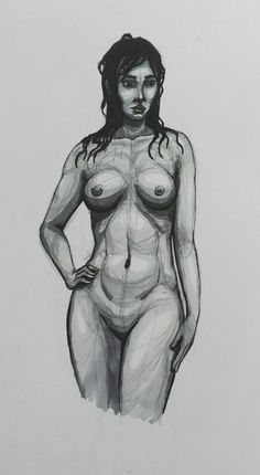 #drawing #art #marker #pen #ink #copic #micron #monochrome #black&white #nude #woman