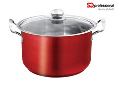 Gems Metallic Steel Casserole Red Ruby Stock Pot - SQ Professional brings you its brand new flagship 'Gems' range of cookware. These individual pots sparkle with the brilliance of the Ruby gemstones after which they are named. Made from high quality stainless steel, the pots can be used to cook a multitude of foods to perfection. They come complete with vented, tempered glass lids. Dimensions: 14.6 L - ø32cm x 18cm   |   12.3 L - ø30cm x 18.5cm   |   10.0 L - ø28cm x 18cm