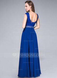 Vestidos princesa/ Formato A Decote redondo Chá comprimento De chiffon Tule Vestido de baile com Renda Bordado Lantejoulas (017041108) - JJsHouse