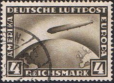 The first stamps depicting the Graf Zeppelin were issued by Germany in 1928 showing the airshipflying across the Atlantic Ocean. The stamp bears the inscription 'DEUTSCHE LUFTPOST AMERIKA-EUROPA'. Photo by Rudy Pinto at aerophilatelist.blogspot.com