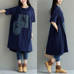 Printing Cotton Women Casual Linen Loose Folded Blue Dress