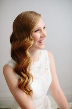 We were absolutely delighted when hair stylist Heather Chapman agreed to create bridal hair how to for Gent & Beauty. Hollywood glamour hair for bride. Simple Wedding Hairstyles, Formal Hairstyles, Vintage Hairstyles, Down Hairstyles, Bridesmaid Hairstyles, Hairstyle Wedding, Gorgeous Hairstyles, Wavy Wedding Hairstyles, Long Wavy Hairstyles