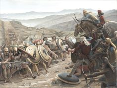 Artist Mikel Olazabal's depiction an encounter between the Greeks and Persians at Abyadh or the 'White Hills'.