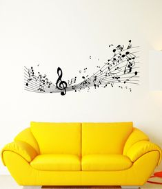 Wall Sticker Vinyl Decal Melody Sound Sheet Music Treble Clef Composer (ed434)