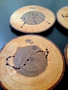 Functional pieces of art for your table! These unique wood coasters are one-of-a-kind, with wood burned, hand drawn designs. This set features