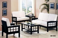 Latest designs of wood sofa set with white leather upholstery Furniture Sofa Set, White Bedroom Furniture, Furniture Decor, Furniture Design, Farmhouse Furniture, Sofa Cumbed, Wood Sofa, Sofa Upholstery, Wood Chairs