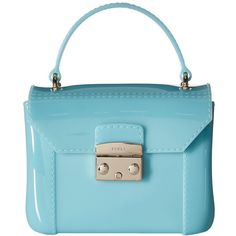 Furla Candy Bon Bon Mini Crossbody (Acquamarina) Cross Body Handbags ($148) ❤ liked on Polyvore featuring bags, handbags, shoulder bags, hand bags, furla handbags, mini crossbody, man bag and mini crossbody purse
