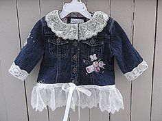 Children's Upcycled Jean Jacket Shabby Chic by AmadiSloanDesigns, $38.75