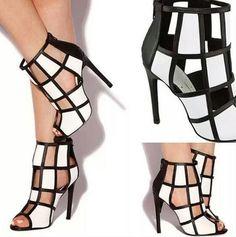 Shoespie Colors Contrast Cut-outs Zipper Stiletto Heels - Elegant Shoe Girl Stilettos, Women's Pumps, Stiletto Heels, Cute Shoes, Me Too Shoes, Shoe Boots, Shoes Heels, Prom Shoes, Ankle Boots