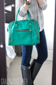 Urban Expressions Elisha Zipper Accent Structured Satchel (teal or dark green)