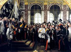 The Proclamation of the German Empire (January 18, 1871) , painting by Anton von Werner (1877): an Empire in Versailles castle , 1871. Bismarck is the first Chancellor . Anton von Werner - Museums Northern / Bismarck Museum: Picture Deutschland – Wikipedia