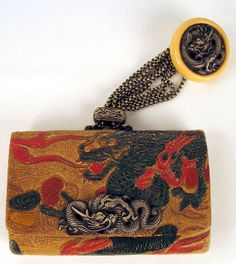 Japanese meiji tobacco pouch with dragon themed netsuke, ojime and kanamono