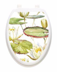 Toilet Tattoos Toilet Lid Cover  Decor Lotus Blossom  Reusable Vinyl 1135 #ToiletTattoos