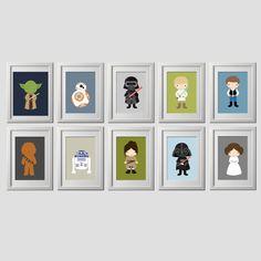 star wars bedroom wall decor prints, the force awakens wall art prints, custom backgrounds