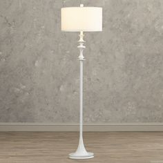 Features:  -One light floor lamp.  -White drum shade.  -A curved top flowers…