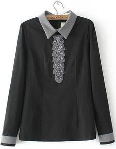 Black Contrast Collar Bead Slim Blouse 23.17