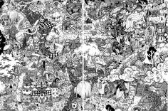 Lindsey's Alice in Wonderland and Jack and the Beanstalk pen ink illustration PRINT doodle fantasy fairytales 2 and 3 of 6. Seek find forest by WyldTrees on Etsy