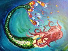 How to paint a Mermaid easy beginner full acrylic art lesson - YouTube