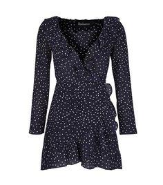 Black and White Polka Dot Long Sleeve Faux Wrap Rufffle Dress - Realisation Par The Alexandra Dress ($195)
