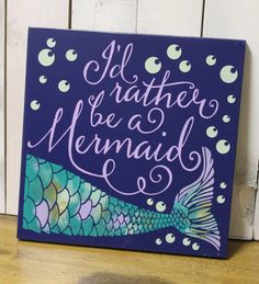 I'd Rather be a Mermaid/bathroom Sign/Pool Sign/Ocean Sign/Navy Blue/Wood Sign/Mermaid/Girls Room/Mermaid Decor
