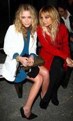 Olsens Anonymous Blog Mary Kate Olsen Front Row White Blazer Cutout Blue Dress Wedges Nicole Richie Wavy Hair Tuxedo Blazer Proenza Schoulde...