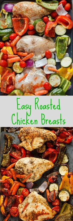 Roasted Bone-In Chicken Breasts with Vegetables | #healthy #chicken #vegetables…