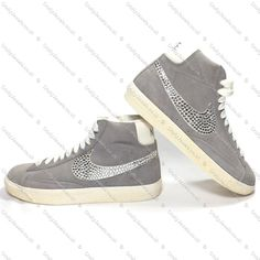 Swarovski or Diamante Adult Nike Blazers Hi Vintage Suede Light Grey By www.craftyjewels.co.uk