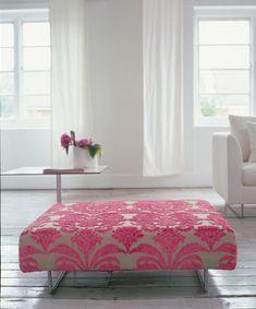 Modern feminine fabric: Pink damask velvet + modern ottoman + white living room by xJavierx, via Flickr