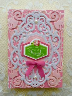 Card by Vickie Blakeslee. Anna Griffin Ornamental Frame dies, metallic papers, and card used.