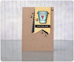 "Karte zum Vatertag | Father's Day card - Create A Smile Stamps ""Coffee First"", Hero Arts ""Tweed Pattern"", Stampin' Up ""Kleine Wünsche"", PanPastel, Faber-Castell Polychromos"