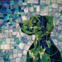 Green Blue Pop Art Custom Pet Portrait Mosaics Suzanne Coverett Earls Http://https://www.etsy.com/shop/PiecefulArts Great Dane Dog in grouted stained glass, pop art