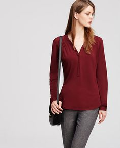 Image of Petite Pleated Shoulder Blouse