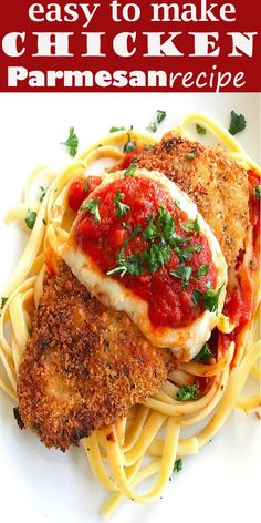 Easy Chicken Parmesan (good one) Kabasa Recipes, Argula Recipes, Coliflower Recipes, Fun Easy Recipes, Healthy Dinner Recipes, Easy Meals, Cooking Recipes, Delicious Recipes, Yummy Food
