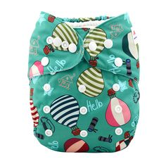 Baby'love Reusable Green Hot Balloon All-in-One Diaper, 20% discount @ PatPat Mom Baby Shopping App